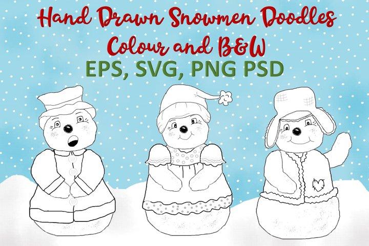 Christmas Snowmen Doodles Clipart SVG, PNG, EPS, PSD example 1