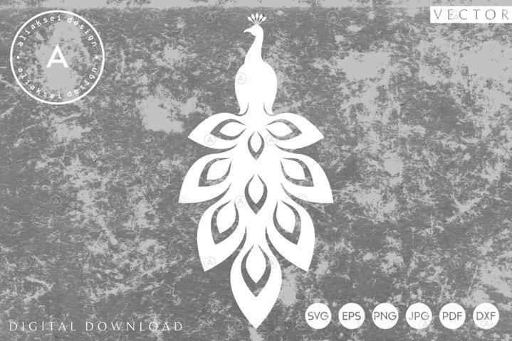 Peacock Paper Cut   Abstract Bird SVG