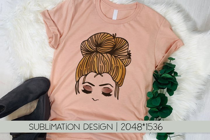 Messy Bun - Sublimation File PNG - Hand Drawn