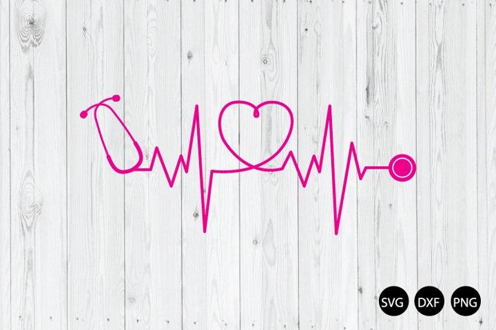 Stethoscope Heartbeat SVG, Nurse SVG, Heartbeat SVG