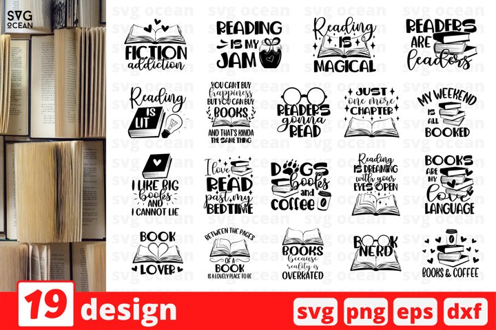 Reading SVG Bundle   Books Cut File   Coffee   Bibble