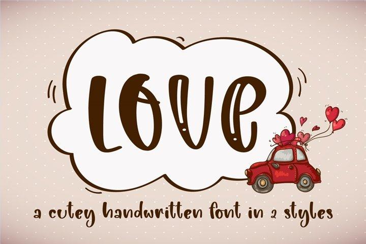 Love- A adorable handwritten script font