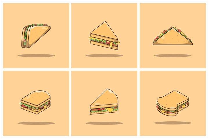 Sandwich Vector Set Flat Illustration