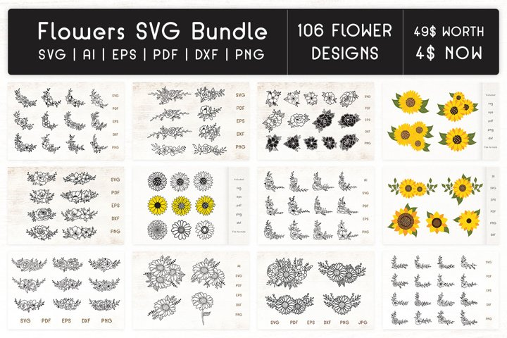 Flowers SVG Bundle - Floral Decorative Elements, SVG flowers