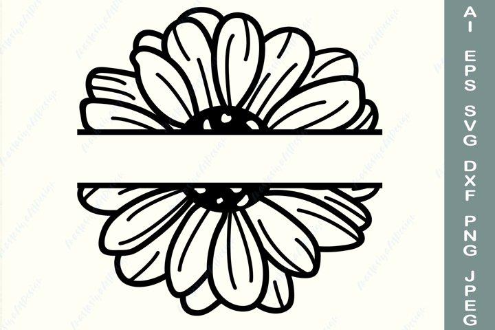 Daisy frame svg, Split monogram svg, Family name border svg