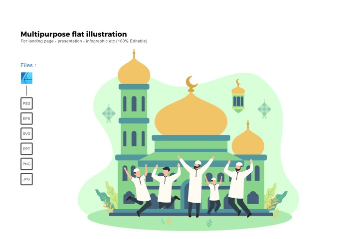 Flat illustration ied mubarak 1441H