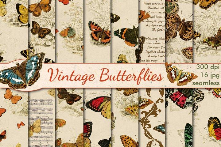 Vintage Butterflies seamless patterns