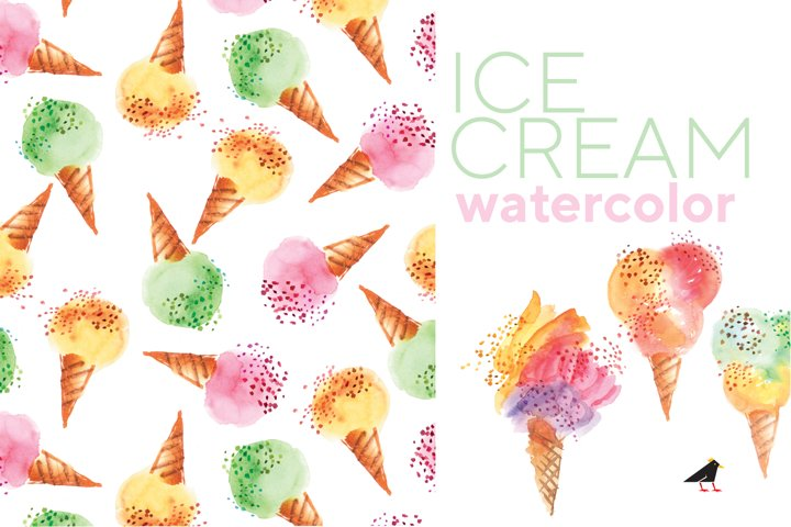 Watercolor Ice Cream Corns and Seamless Patterns