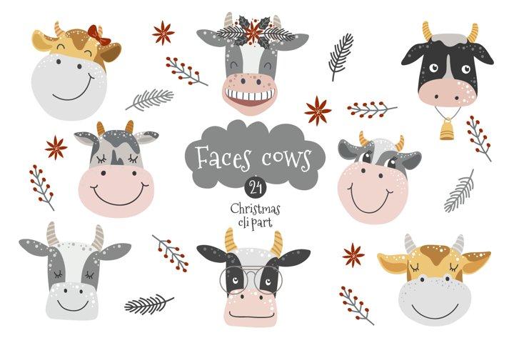Cow face svg, cow head clipart set, nursery wall decor