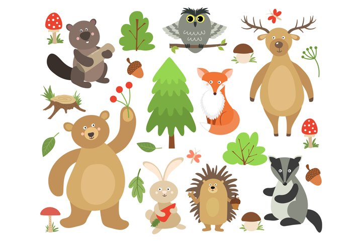 Cute woodland animals. Beaver fox deer owl bear hare hedgeho