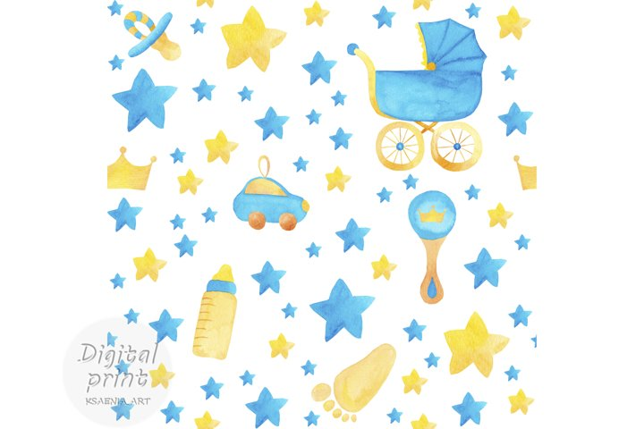 Watercolor seamless pattern clipart Baby boy digital paper
