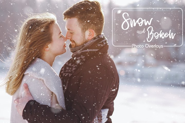 30 Snow and Bokeh Photo Overlays
