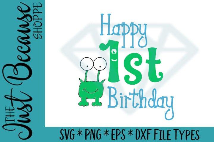 Happy 1st Birthday Cute Monster Svg Design 0455 207279 Svgs Design Bundles