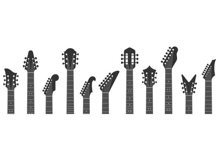 Guitar headstocks. Guitars necks, rock music and guitar pegh