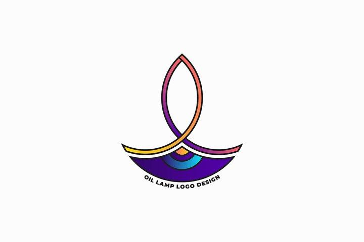 Oil lamp logo design