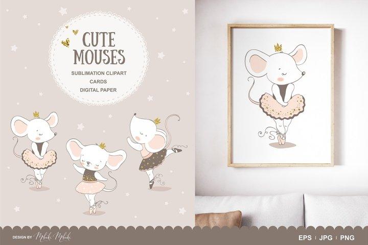 Cute mouse ballerina dancing sublimation clipart
