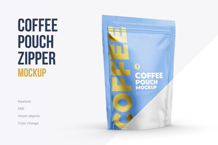 Coffee Stand Up Pouch Mockup. Half side view