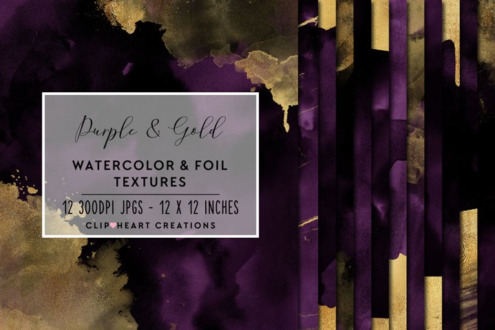 Purple & Gold Watercolor and Foil Papers