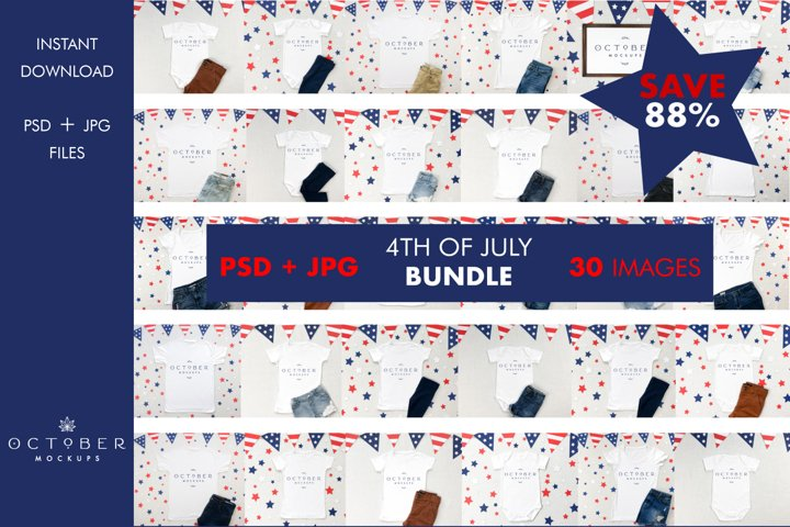 Mockup Bundle 4th of July PSD and JPG | 30 Mega Bundle