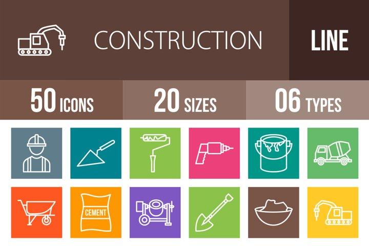 50 Construction Line Multicolor B/G Icons Season II
