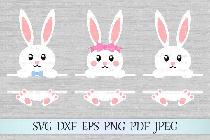 Easter svg, Bunny split monogram svg, Bunny monogram svg