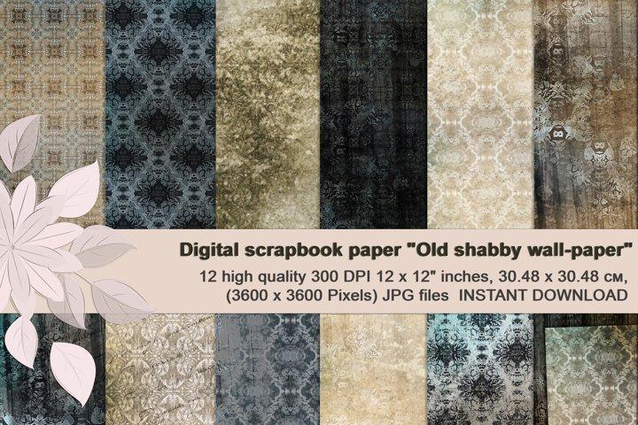 Beige-Blue Old Shabby Digital Backgrounds