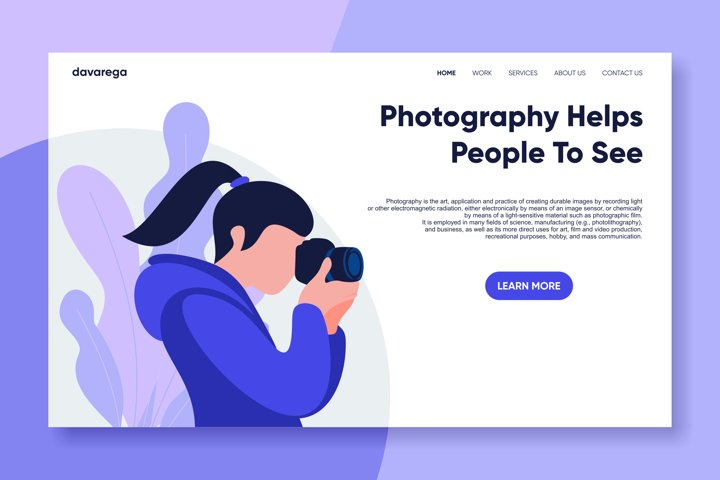 photography landing page flat design