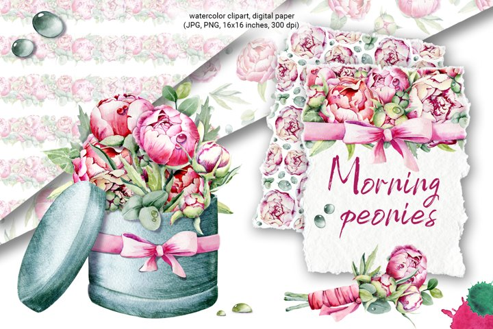 Illustration of peonies. Watercolor bouquet of flowers.