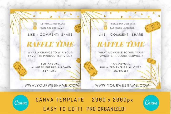 Raffle Flyer Template on CANVA , Social Media Post / Flyer
