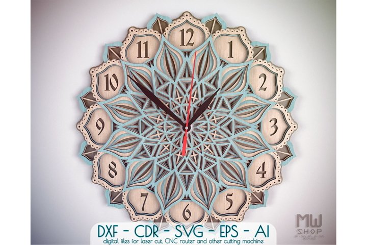 C31 - Mandala Flower Clock, Layered Clock DXF, Clock SVG