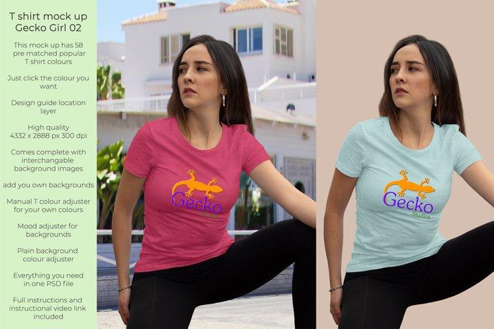 Gecko Girl 2 T shirt mock up