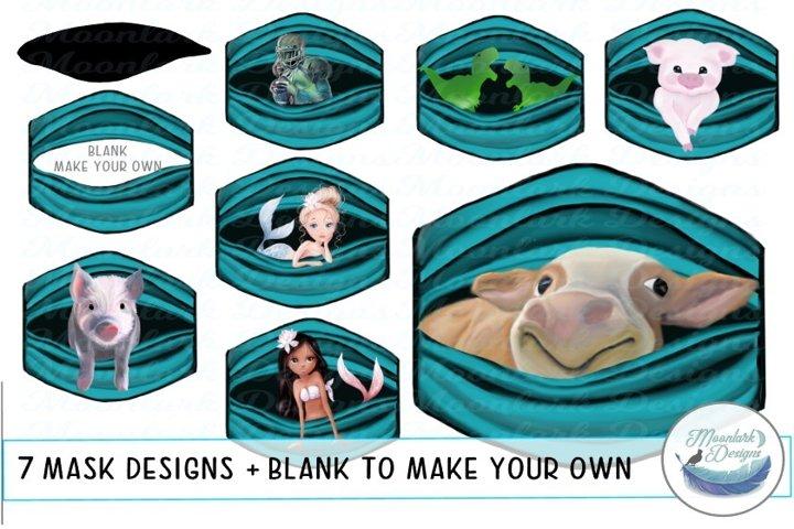 Peek a boo mask designs - cow pig dinosaur mermaids football