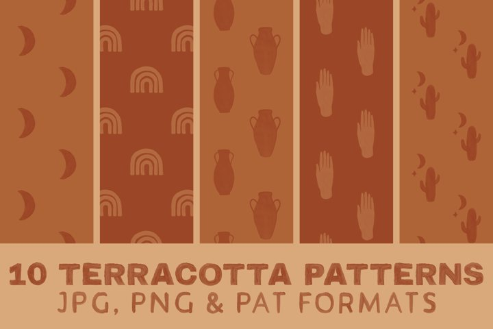 Terracotta Boho Digital Paper - Seamless Pattern Mystic