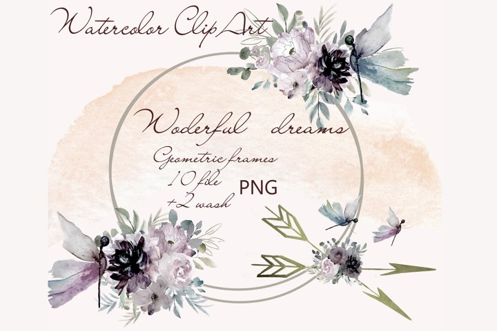 Watercolor Geometric Frame with flowers Clipart dragonfly