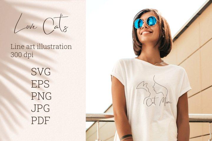 Cat mom SVG. Mom T-shirt. PNG. SVG. EPS. JPG. PDF.