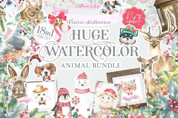 18in1 Watercolor Animals Bundle Sale, Bonus, Free Updates