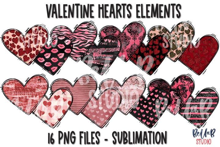 Valentine Sublimation Hearts Elements Bundle