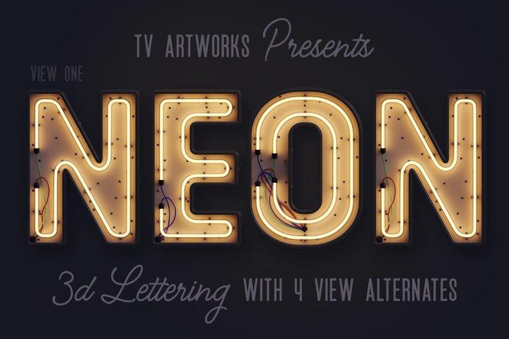 Modern Neon 3D Lettering