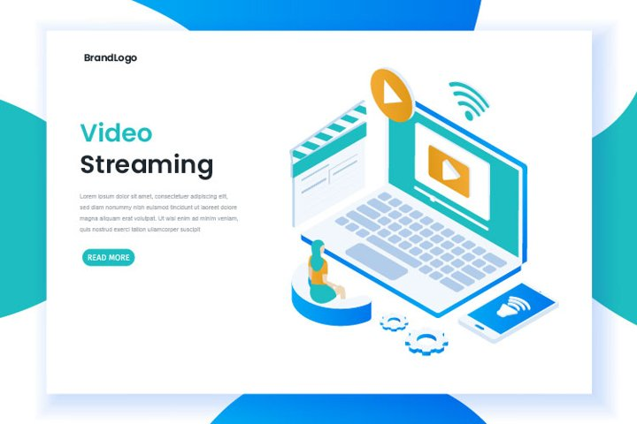Isometric video streaming landing page template
