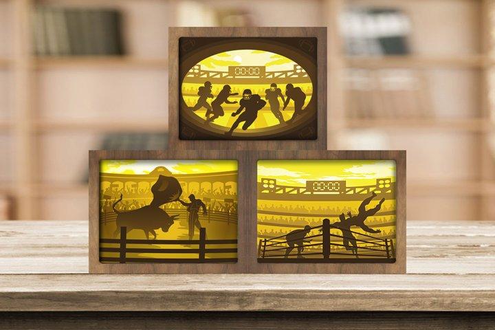 Combo 3 Templates Sport 2 3D Paper Cut Light Box