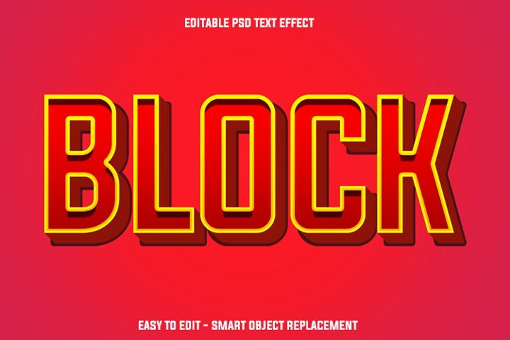 red block text effect