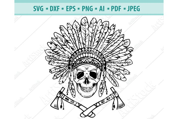 Indian Skull Svg, Head Dress Svg, Indian Ax Png, Dxf, Eps