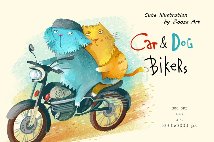 Cat and Dog bikers