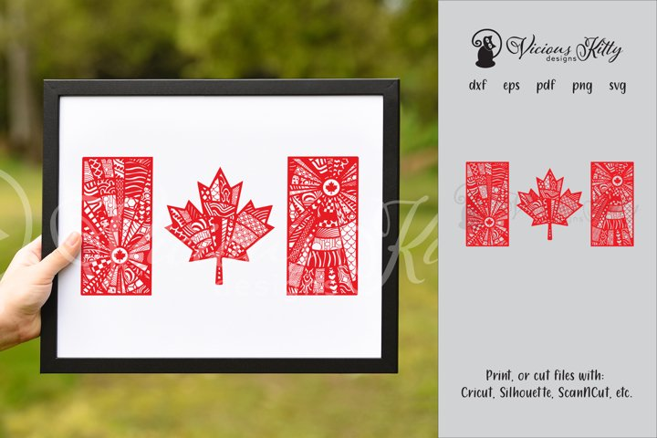 Canada flag zentangle, Canadian, maple leaf, Canada Day
