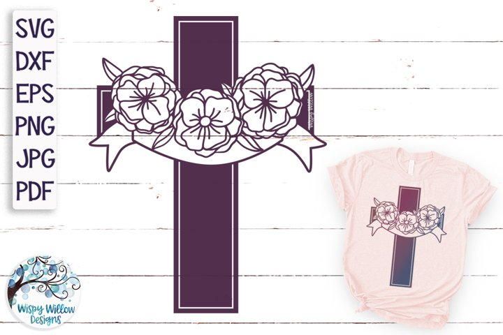 Floral Cross with Ribbon Drape SVG | Cross With Flowers SVG