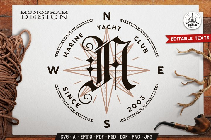 Marine Club Monogram SVG Design With Wind rose and Rope Icon