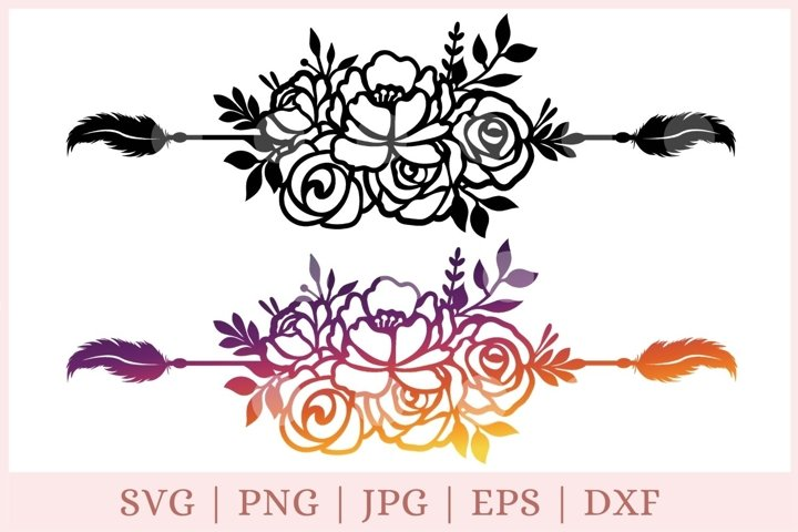 Floral boarder svg, divider svg, feather svg, floral svg