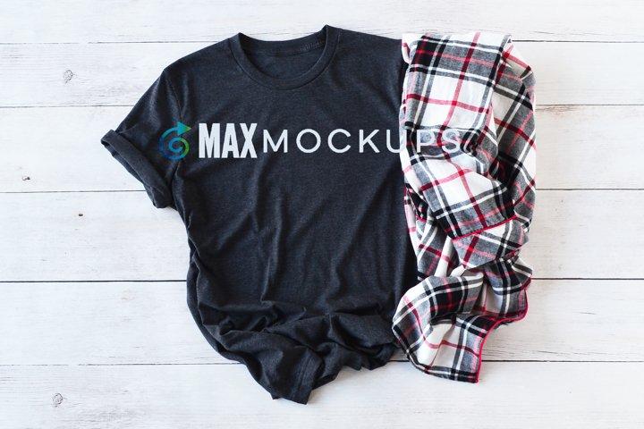 Dark Gray shirt Mockup, plaid flannel, women, men, flatlay