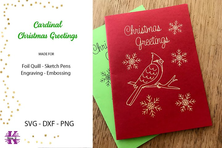 Cardinal Christmas Greetings SVG Foil Quill Sketch Pen