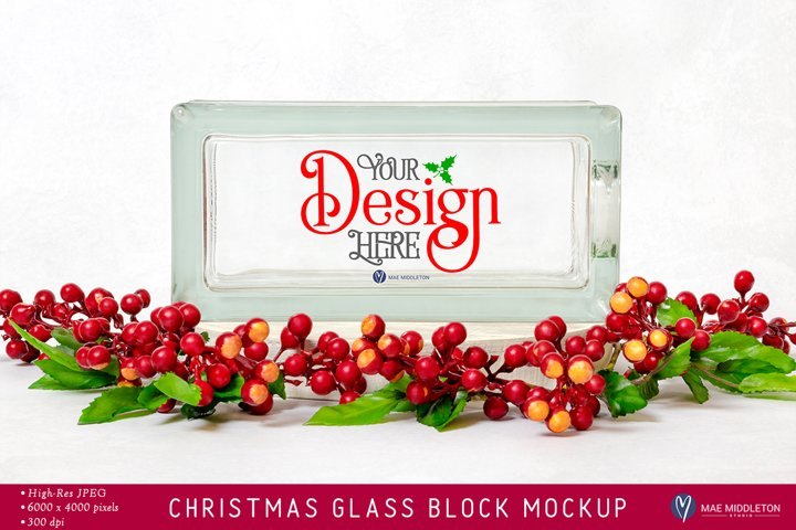 Christmas Glass Block Mockup | styled photo